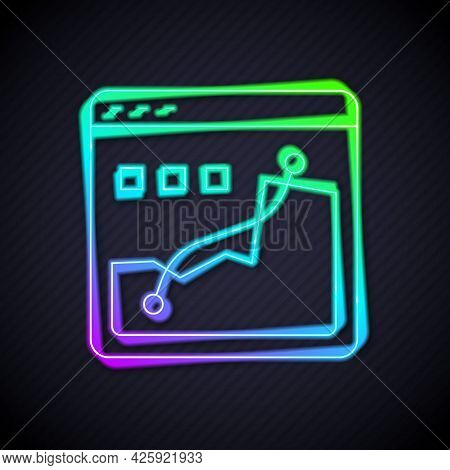 Glowing Neon Line Histogram Graph Photography Icon Isolated On Black Background. Vector