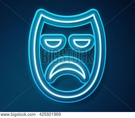 Glowing Neon Line Drama Theatrical Mask Icon Isolated On Blue Background. Vector