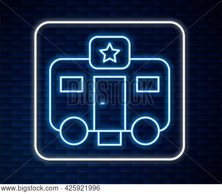 Glowing Neon Line Machine Trailer Dressing Room For Actors Icon Isolated On Brick Wall Background. M
