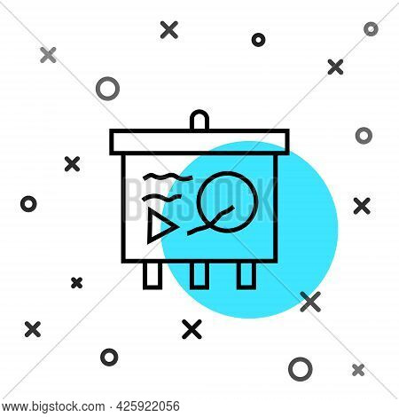 Black Line Scenario On Chalkboard Icon Isolated On White Background. Script Reading Concept For Art