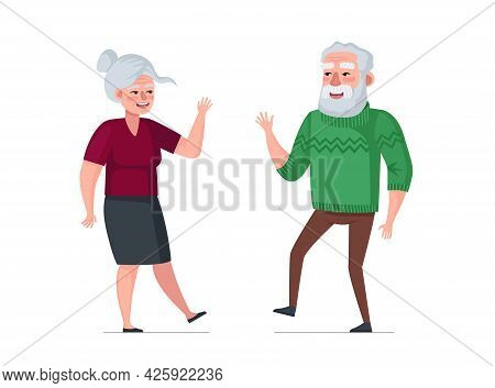Elderly Active Joyful Man And Woman Couple Dancing. Healthy Happy Old Age Concept. People Seniors En