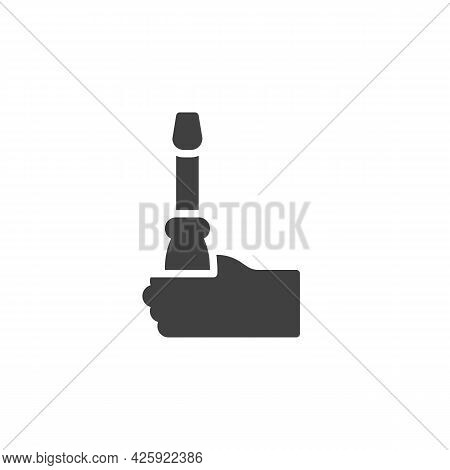 Hand With Screwdriver Vector Icon. Filled Flat Sign For Mobile Concept And Web Design. Hand Holding
