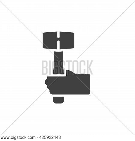 Hand With Mallet Vector Icon. Filled Flat Sign For Mobile Concept And Web Design. Hand With Sledgeha