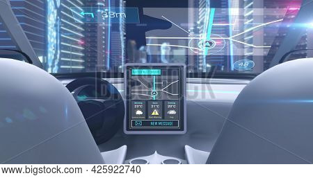 Image of image game simulation screen showing car cockpit driving through city streets. Virtual reality image gaming concept digitally generated image.
