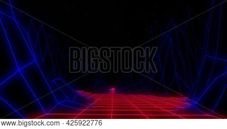 Image of image game screen with red to purple glowing grid and map lines moving and waving on black background. Colour light movement concept digitally generated image.