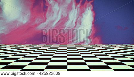 Image of image game screen with white and pink smoke, grid of black and white squares lines moving on blue background. Colour light movement concept digitally generated image.