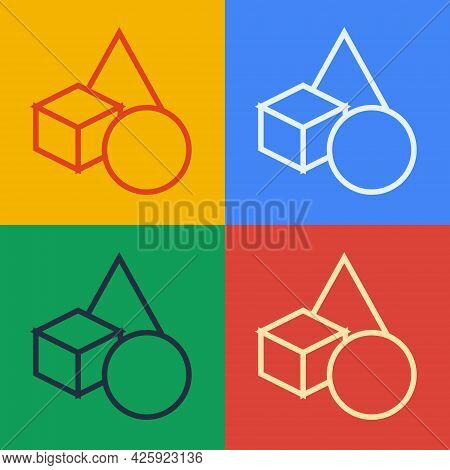 Pop Art Line Basic Geometric Shapes Icon Isolated On Color Background. Vector