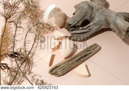Make Up Cosmetic Sponges On Neutral Beige Background, Modern Trendy Still Life, Monochrome, Earth To