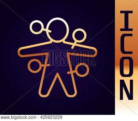 Gold Line Voodoo Doll Icon Isolated On Black Background. Vector