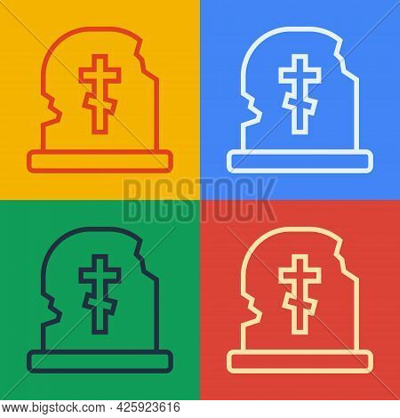 Pop Art Line Grave With Tombstone Icon Isolated On Color Background. Vector