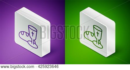 Isometric Line Goblet And Bread Icon Isolated On Purple And Green Background. Bread And Wine Cup. Ho