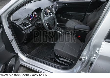 Novosibirsk, Russia - June 29, 2021: Hyundai Solaris, Steering Wheel, Shift Lever, Multimedia  Syste