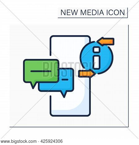 Messaging App Color Icon. Communication Application. Chatting. Dialogue With Other People. Global Ne