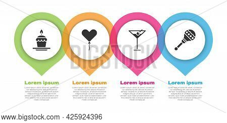 Set Cake With Burning Candles, Balloon In Form Of Heart, Martini Glass And Maracas. Business Infogra