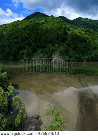 Malaia Dam lake in the Carpathians, Romania, Europe