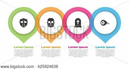 Set Hockey Mask, Skull, Tombstone With Cross And Eye. Business Infographic Template. Vector