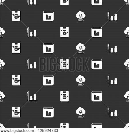 Set Cloud Computing Lock, Data Analysis, Server, Data, Web Hosting And File Missing On Seamless Patt