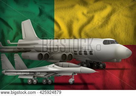 Air Forces On The Benin Flag Background. Benin Air Forces Concept. 3d Illustration