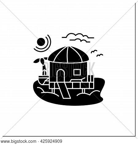 Beach Hut Glyph Icon.tropical Comfortable Bungalow On Beach. Round Roof. Palms, Seascape. Relaxing P
