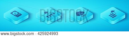 Set Isometric Hard Disk Drive Hdd, Computer Network, Network Cloud Connection And Cloud Computing Lo