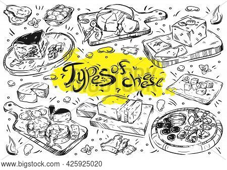Hand Drawn Line Illustration Food. Different Types Of Cheese Isolated Doodles On White Background. K