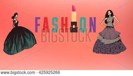 Composition of drawing of models with fashion text on red background. fashion design, fashion show and clothing concept digital image.