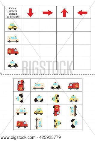 Cut Out Transportation Cards Below And Sort Them Out By Directions. Educational Game For Kids.