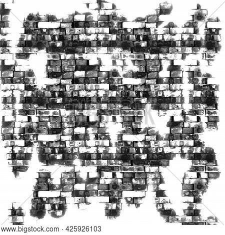 Black And White Shabby Brick Background Grunge