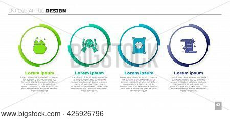 Set Witch Cauldron, Magic Ball Hand, Ancient Magic Book And . Business Infographic Template. Vector