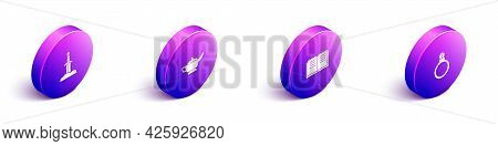 Set Isometric Sword In The Stone, Magic Lamp Aladdin, Ancient Magic Book And Ring With Gem Icon. Vec