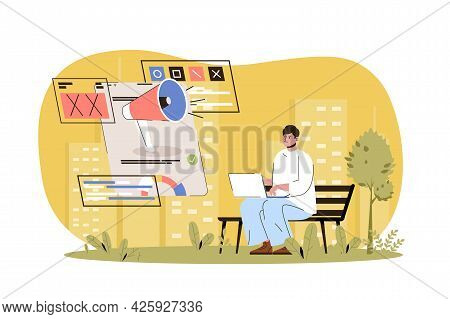 Advertising Web Character Concept. Ad Campaign In Social Networks, Successful Online Communication,