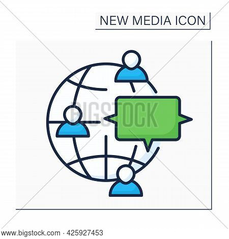 Discussion Forum Color Icon. Real Time Conversation. Online Internet Discussion About Issues. Global