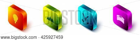 Set Isometric Golf Ball On Tee, Mountains, Crossed Golf Club With And Sun Visor Cap Icon. Vector