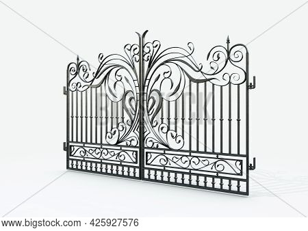 A Set Of Ornate Decorative Cast Iron Driveway Gates On An Isolated White Background - 3d Render