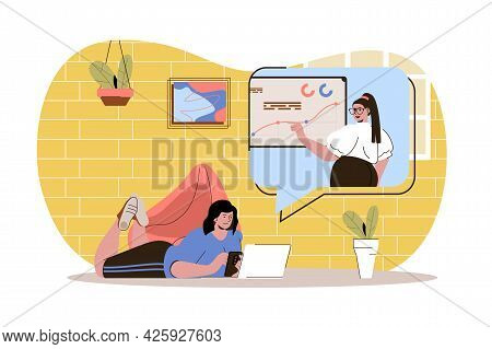 Distant Learning Web Character Concept. Student Study, Watches Webinar Or Video Course. E-learning A