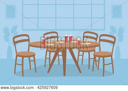 Table With Fast Food Flat Color Vector Illustration. Dining Room For Students. Lunch For Friend Grou