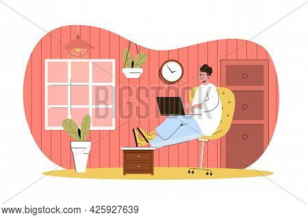 Freelance Work Web Character Concept. Freelancer Works On Laptop Sitting On Chair. Remote Worker Wor