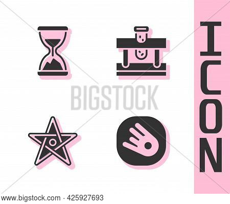 Set Comet Falling Down Fast, Old Hourglass With Sand, Pentagram And Bottle Potion Icon. Vector