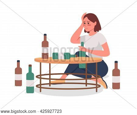 Girl With Alcoholism Semi Flat Color Vector Character. Sitting Figure. Full Body Person On White. Un