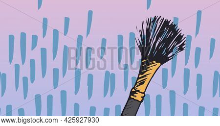 Composition of make up brush with shapes repeated on pink background. fashion and accessories background pattern concept digital image.