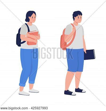 Upset Teenage Students Semi Flat Color Vector Character Set. Standing Figures. Full Body People On W