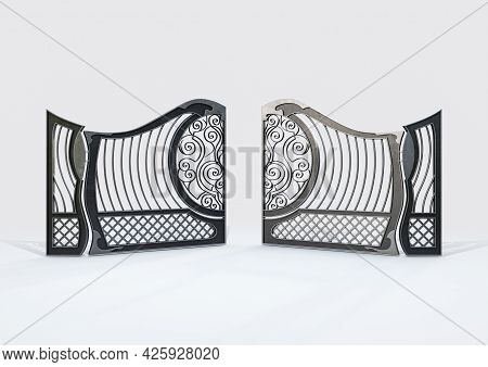 A Set Of Open Ornate Decorative Cast Iron Driveway Gates On An Isolated White Background - 3d Render