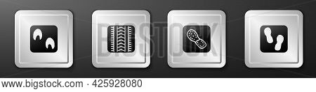 Set Horse Paw Footprint, Tire Track, Human Footprints Shoes And Icon. Silver Square Button. Vector