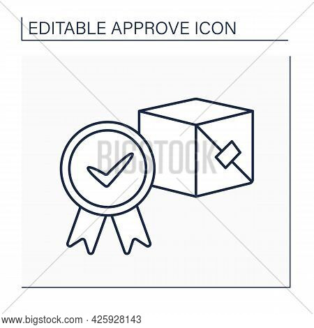 Approved Product Line Icon. Governmental Authority Approving Necessary For Marketing And Product Sal