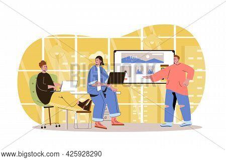 Web Development Character Concept. Developers Team Creates Webpage Layout, Place Graphic Elements, D