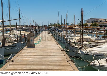 Colonia De Sant Jordi, Spain; June 26 2021: General View Of The Marina In The Mallorcan Town Of Colo