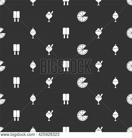 Set Homemade Pie, Ice Cream In Bowl, And On Seamless Pattern. Vector