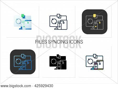 Files Syncing Icons Set.synchronizing All Documents In Different Devices.conecting To Different Devi