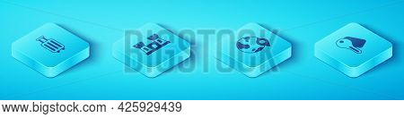 Set Isometric Suitcase, Sand Castle, Hotel Door Lock Key And Location On The Globe Icon. Vector