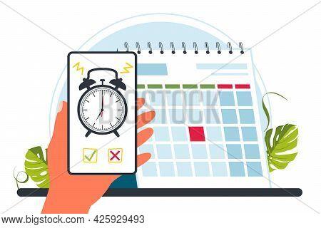 Calendar, Alarm Clock. Time Management Concept, Deadline. Appointment, Important Date Concept. Alarm